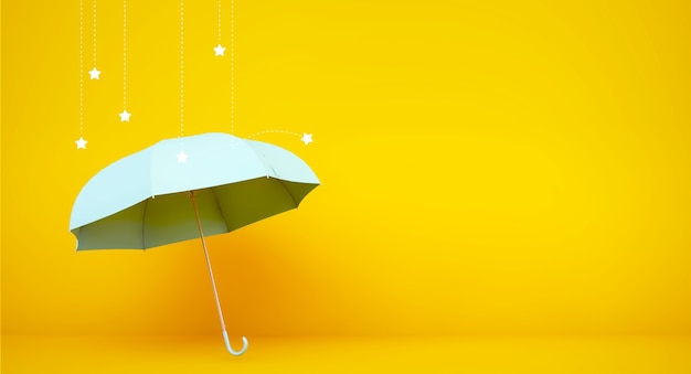 Blue umbrella 3d rendering with stars rain