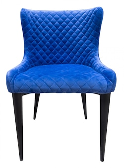 Blue velours modern chair with back standing straight isolated