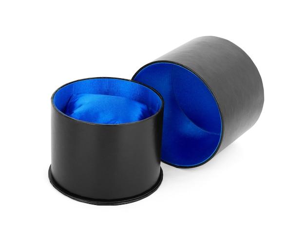 Blue velvet box for the ring, isolated over the white background