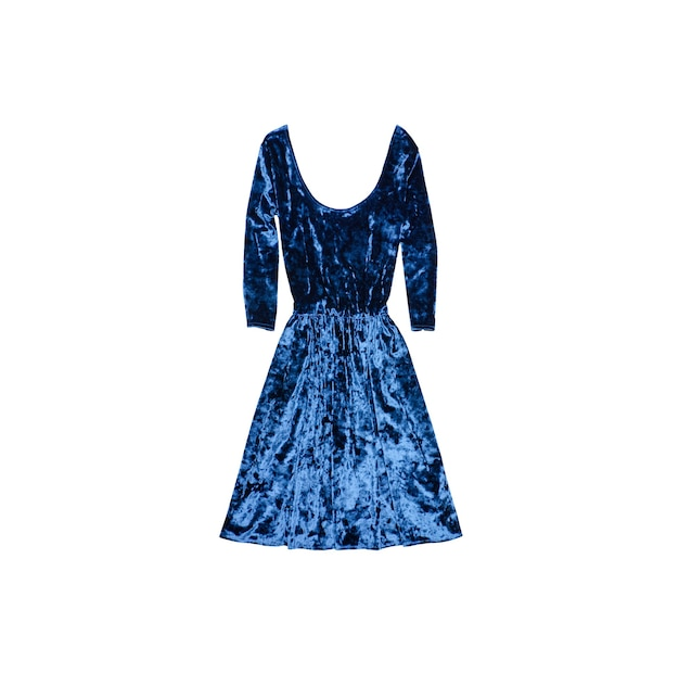 Платье из синего бархата. модная концепция. изолированный.