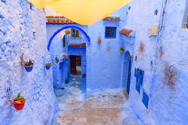 Blue village of chefchaouen in morocco