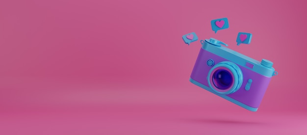 Blue vintage camera 3d illustration.
