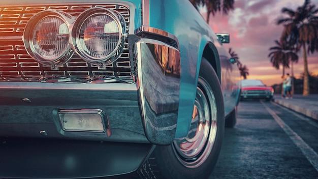 블루 빈티지 자동차입니다. 3d 렌더링 및 그림입니다.