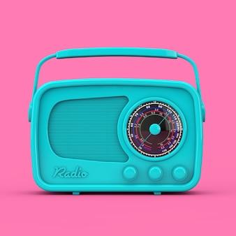 분홍색 배경에 이중톤 스타일의 블루 빈티지 라디오. 3d 렌더링