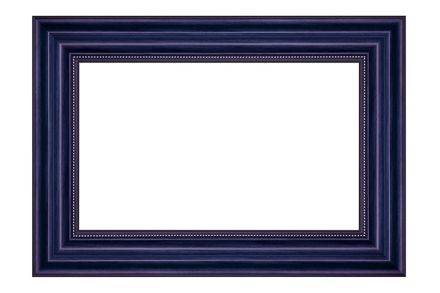 Blue vintage wood picture frame isolated on white background