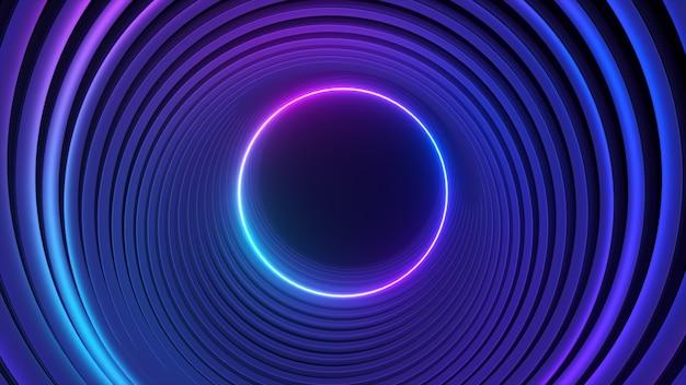 Синий фиолетовый неоновый круг абстрактное футуристическое движение высоких технологий