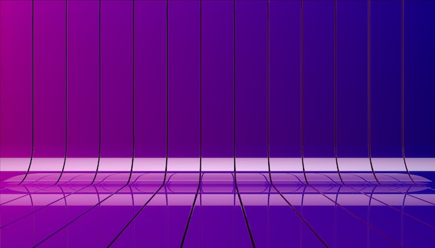 Blue and violet ribbons background illustration. background stage as template for your showcase.