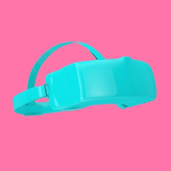 Синие очки шлема виртуальной реальности в стиле дуплекса на розовом фоне. 3d рендеринг
