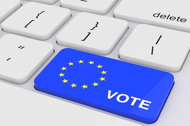 Синий ключ голосования с европейским флагом на белой клавиатуре пк крайнем крупном плане. 3d рендеринг