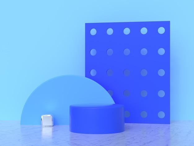 Blue wall abstract geometric shape set