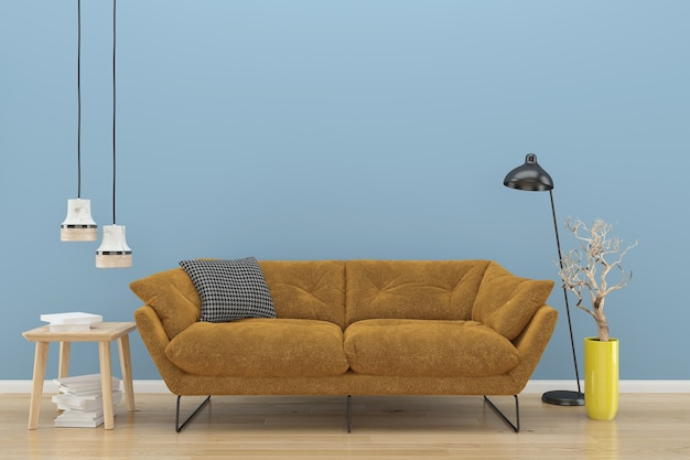Blue wall brown sofa wood floor background texture lamp book plant vase