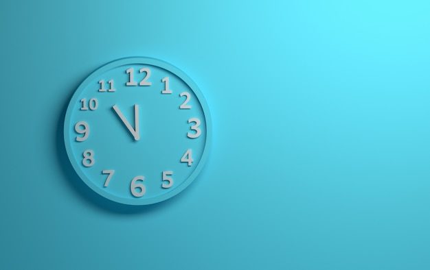 Blue wall clock with white numbers on background of blue