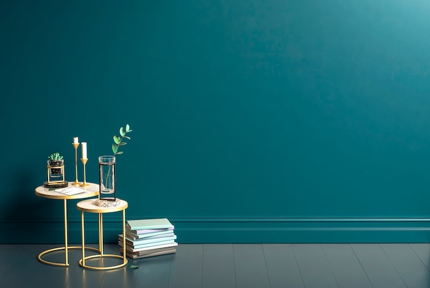 Blue wall and gold metal tables
