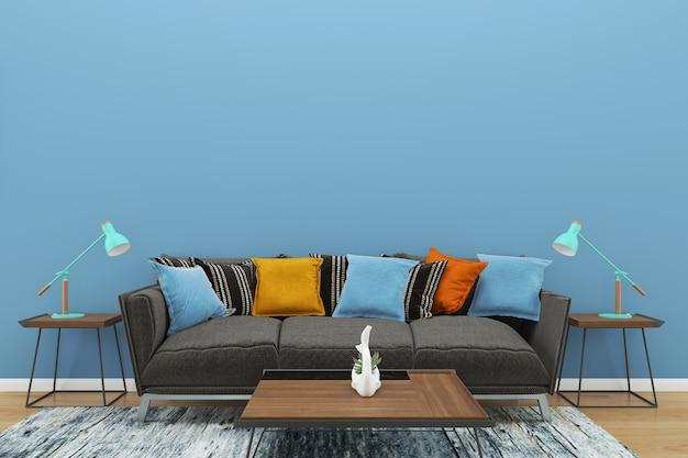 青い壁の灰色のソファのコピースペースインテリアリビングルームのランプ木製の床