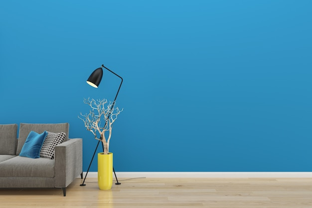Blue wall gray sofa wood floor background texture lamp green plant