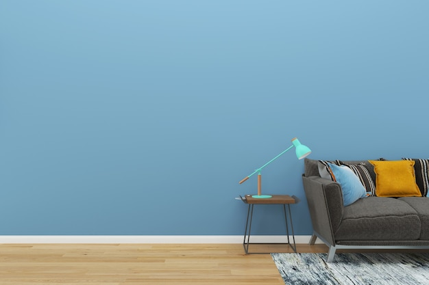 Blue wall gray sofa wood floor background texture lamp green