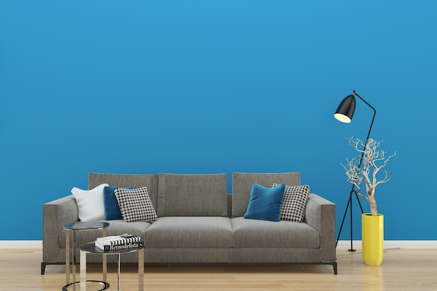 Blue wall gray sofa wood floor background texture lamp vase plant