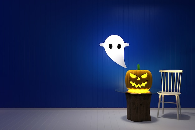 Blue wall halloween template pumpkin ghost