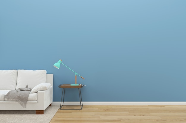 Blue wall white sofa wood floor background texture lamp green rug