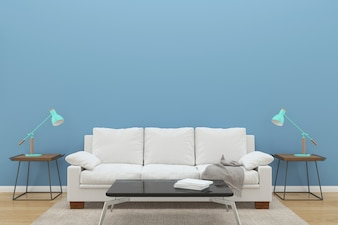 Blue wall white sofa wood floor background texture lamp green