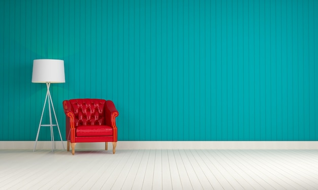 赤いソファのあるブルーの壁