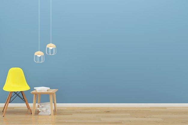 Blue wall yellow chair wood floor background texture lamp book