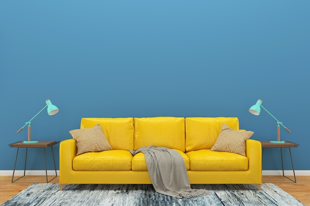 Blue wall yellow sofa wood floor background texture lamp green