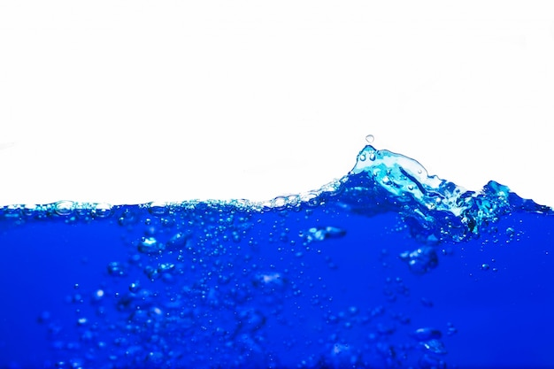 Blue water with bubbles