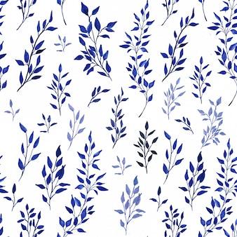 Blue watercolor botanical wallpaper illustration on white background