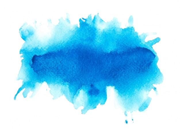 紙の上の青い水彩ブラシ。