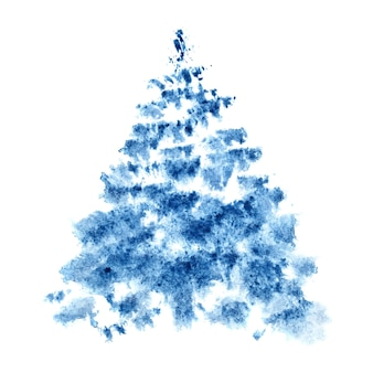 Синяя акварель рождественская елка, изолированные на белом фоне - растровые иллюстрации