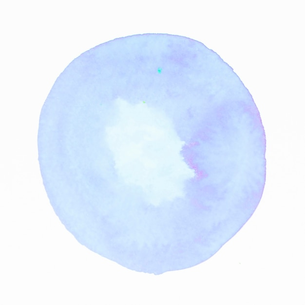 Blue watercolor circle splash on white backdrop