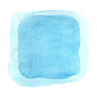 Blue watercolor frame isolated on the white backgdound