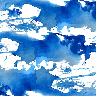 Blue watercolor hand drawn abstract background.