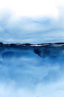 青い水彩風景の背景、水彩デジタルペーパー