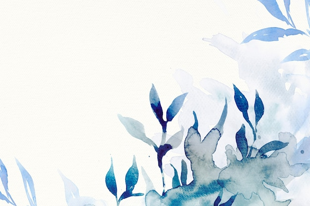 Blue watercolor leaf background aesthetic winter season