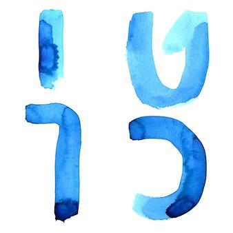 Синие акварельные буквы еврейского алфавита