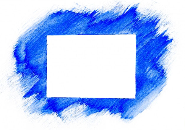 Blue watercolor painted on white paper background and square copy space.