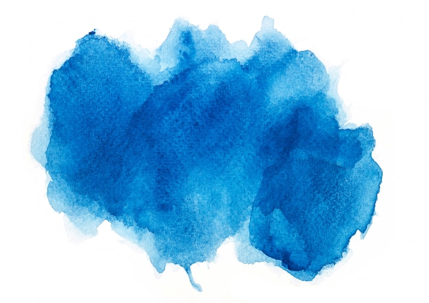 Blue watercolor on paper.