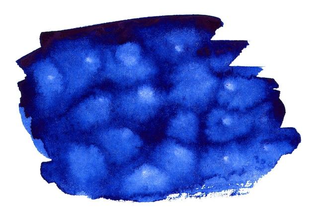 白で隔離の青い水彩画の形