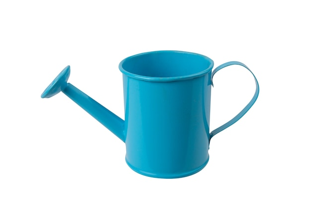Blue watering can with handle on white on isolated background