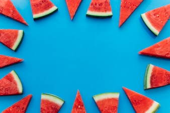 Blue watermelon background with copyspace