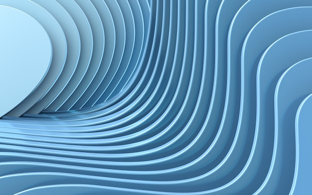 Blue wave abstract background 3d rendering flat design style