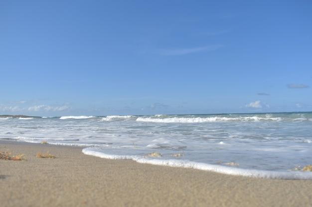 푸른 파도가 모래 해변에 굴러