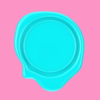 분홍색 배경에 이중톤 스타일의 디자인을 위한 빈 공간이 있는 파란색 왁스 인감. 3d 렌더링