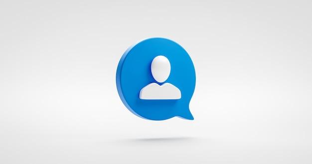 Синий символ значка пользователя веб-сайта или социальный знак аватара иллюстрации и дизайн человека делового общения на фоне интерфейса профиля с концепцией человеческого элемента современной технологии. 3d-рендеринг.