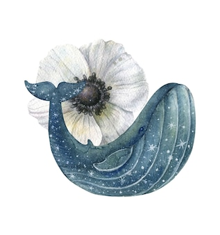Blue whale with stars and a large white anemone flower