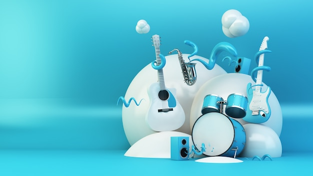 Blue and white abstract instruments