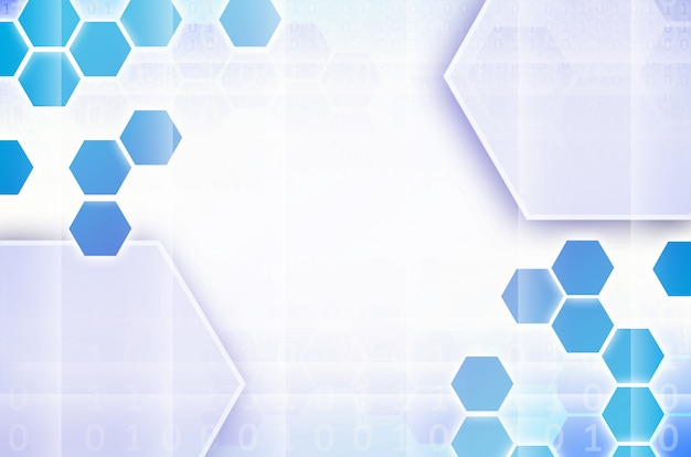 Blue and white abstract technological background with hexagons