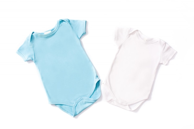 Blue and white baby romper